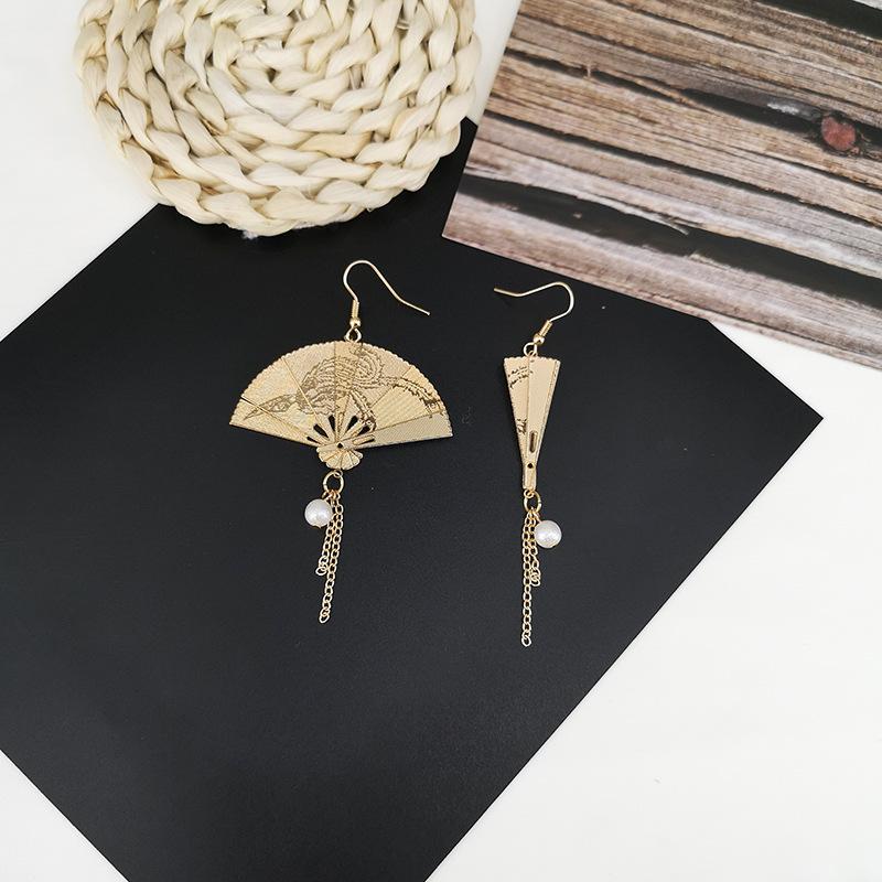 韩版手作可折叠中国风复古金属扇子折扇耳环 流苏气质耳饰 耳夹女