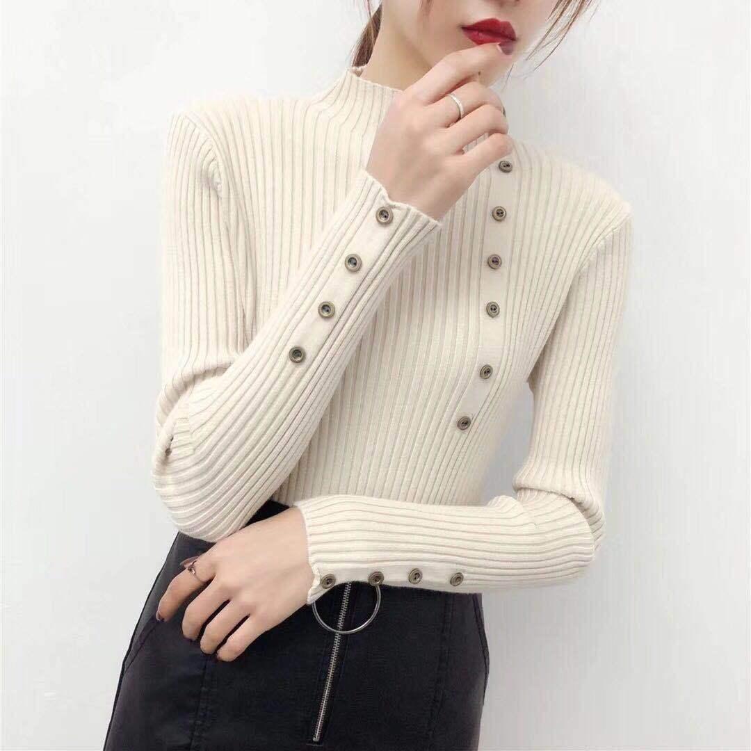 毛衣女2020春秋新款百搭韩版修身显瘦打底针织衫长袖半高领扣子潮