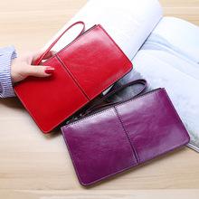 新款女士韓版拉鏈錢包女長款手拿包女式多卡位錢夾多功能腕帶錢包