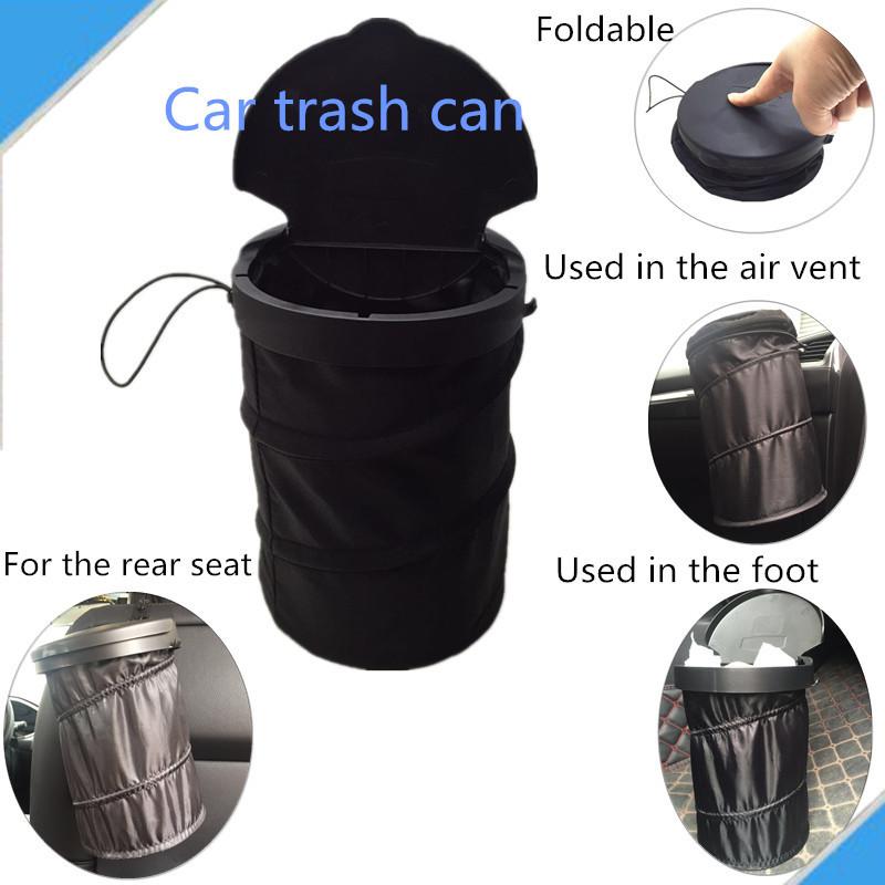 车载垃圾桶伸缩折叠便携翻盖收纳盒汽车置物箱牛津布储物袋