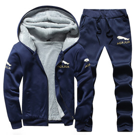 Sports suit men's hooded sweater winter casual two-piece trend plus velvet padded coat 17