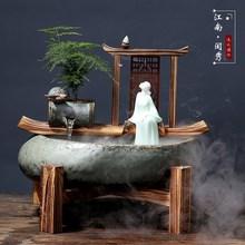噴泉養魚家用裝飾擺設盆景客廳 假山假山流水噴泉魚缸禪意擺件