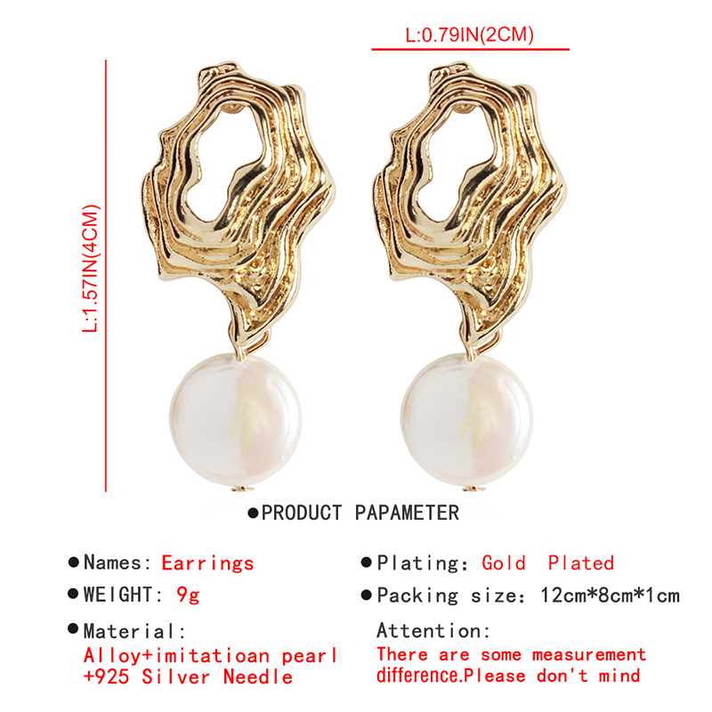 Metal hollowed out small ball leaves flower pearl earrings NHMD156035