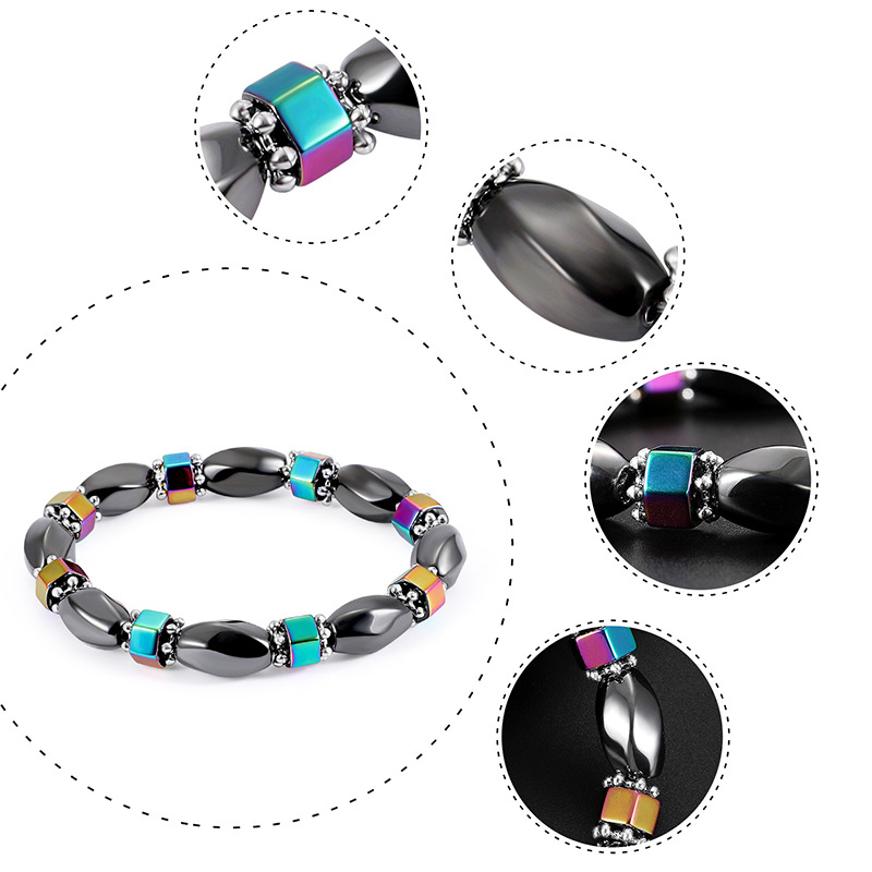 Fashion Natural Stone Inlaid precious stones Bracelets Geometric Steel color  NHLP0907Steel color