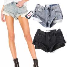 速卖通热裤欧美女装跨境电商货源 复古水洗磨白卷边牛仔短裤