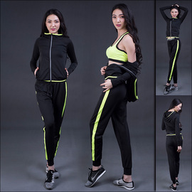 Women's fitness clothing suit stretch breathable yoga trousers training running sportswear three-piece