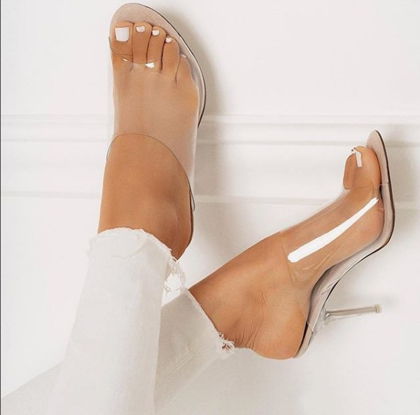 2018 European and American star sexy crystal heel high heels Muller shoes have 42 sizes