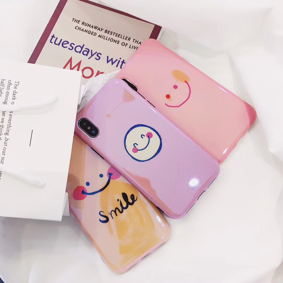 Blu-ray soft shell iPhone7 mobile phone shell female models Apple 8plus cute 6s personality tide female x cartoon 7p smile face