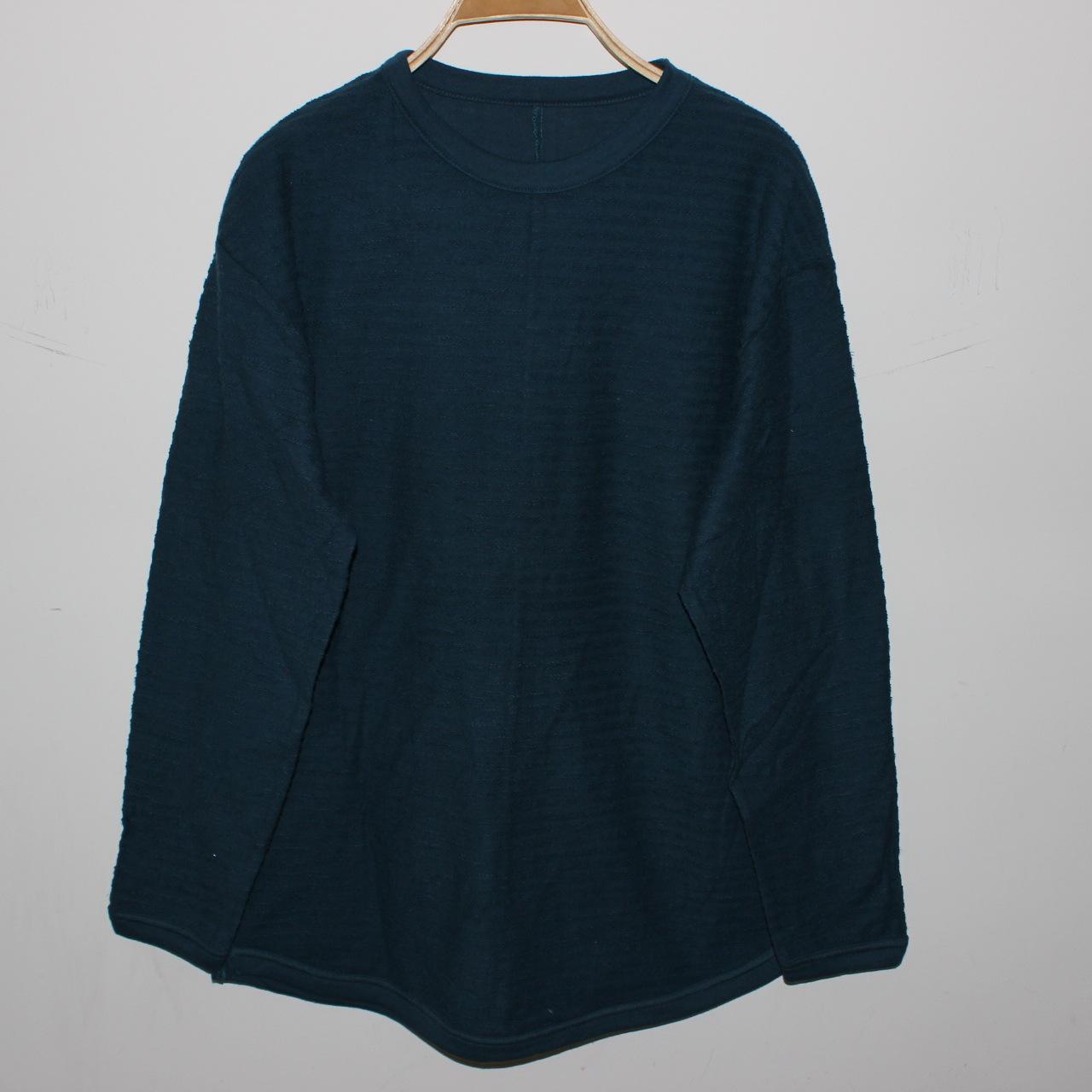爆款春秋季圆领外毛圈两边开叉长袖大码宽松舒适外贸针织打底衫女