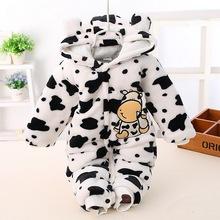 冬季初生嬰兒豹紋法蘭絨連體衣百日寶寶棉襖哈衣連身衣 男女寶寶