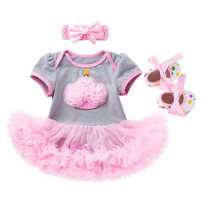 Baby birthday party dresses powder cake dress toddler shoes three piece Baby party dresses girl dress