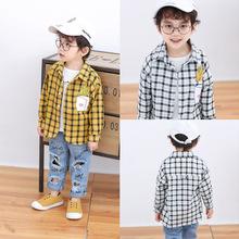 一件代发2018春装新款男童女童格子衬衫中小儿童宝宝印花衬衣