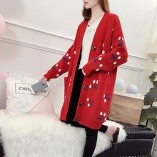 中長款韓版刺繡花朵櫻桃紐扣針織衫開衫2018秋季新款毛衣外套百搭