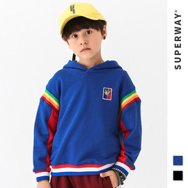 SUPER children's clothing | Europe and the United States tide brand autumn and winter sports pullovers in the big boy long-sleeved children's embroidery hooded sweater
