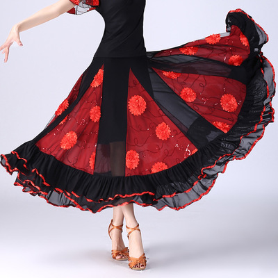 Ballroom dance skirts for women National standard dance half length big swing skirt modern dance competition performance half skirt Sequin Flower Waltz Dance Skirt