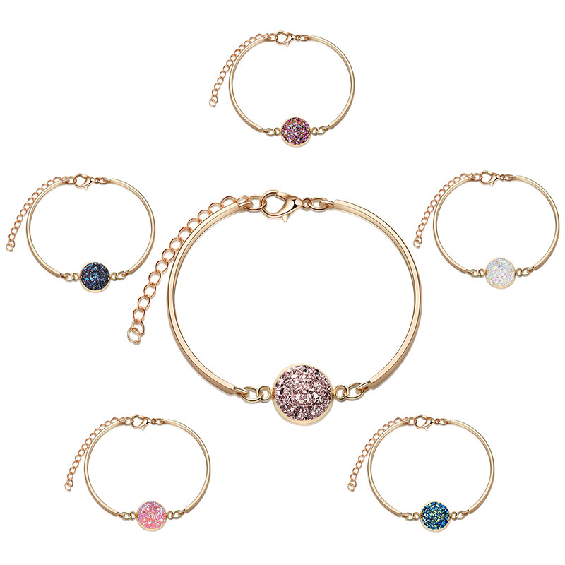 Fashion hotselling alloy silver round  crystal love natural stone  bracelet NHAN241603