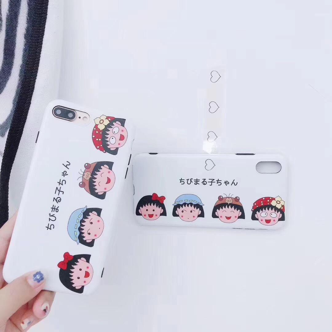 Cartoon Cherry Maruko iPhone7plus Mobile Shell Cute Apple x/6s Matte IMD All Inclusive Soft Case
