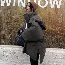 加工定做冬季女装韩版宽松大口袋工装棉衣中长款加厚棉袄棉服外套