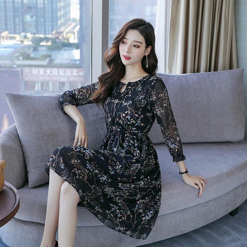 杭州真丝连衣裙女夏装中长款2018新款丝绸桑蚕丝显瘦收腰碎花裙子