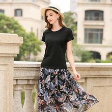 黑色圓領T恤女2019夏季新款汗衫透氣棉質打底女士短袖修身上衣