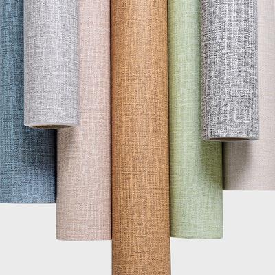 自粘墙纸 仿布纹简约素色纯色PVC仿墙布卧室客厅工程日式壁纸自贴