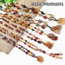 天然阿拉善瑪瑙項鏈 新疆戈壁石葡萄干 筋脈瑪瑙糖心彩色玉石項鏈
