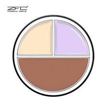 Genuine ZFC tricolor three-dimensional toning powder base ointment waterproof oil control lasting makeup concealer and good bottom makeup