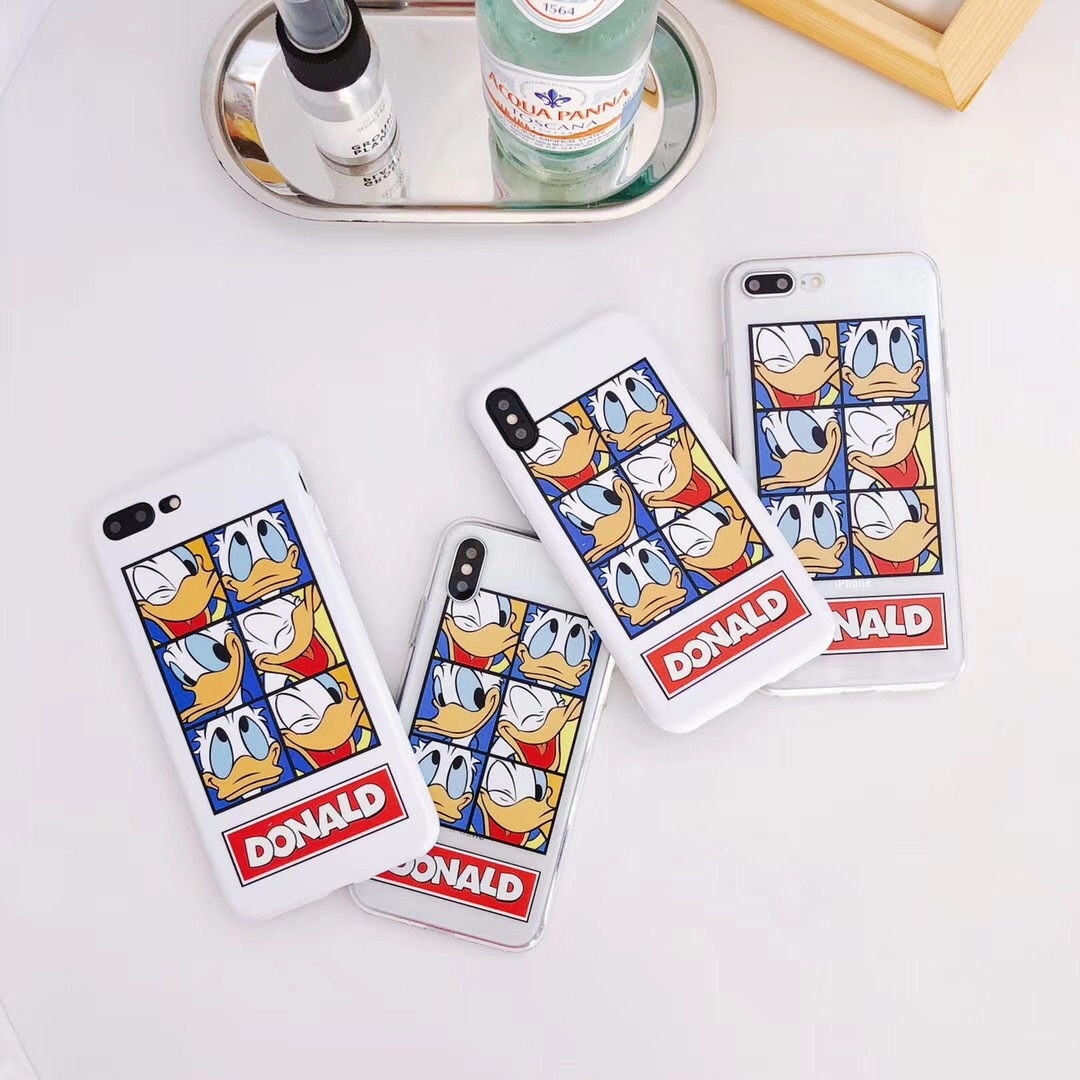 Cute Donald Duck Daisy Couple Apple 7plus Mobile Shell iphone6plus Soft Shell 6s Cover Plaid