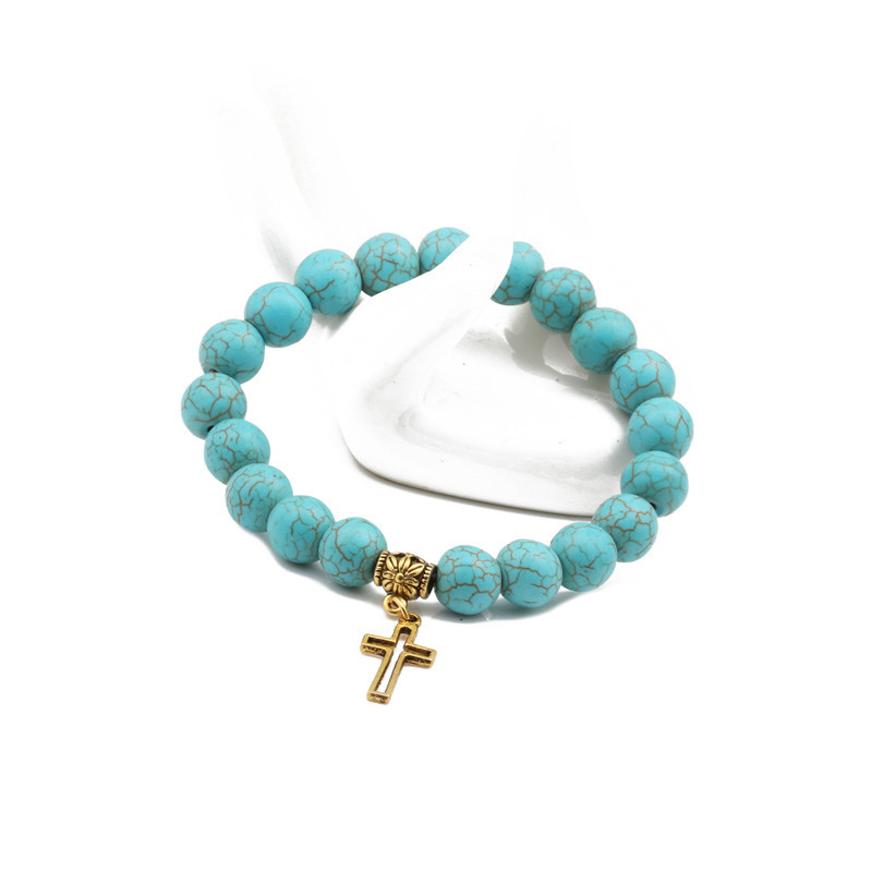 Natural Stone Fashion Cross bracelet  (Alloy cross) NHYL0382-Alloy-cross