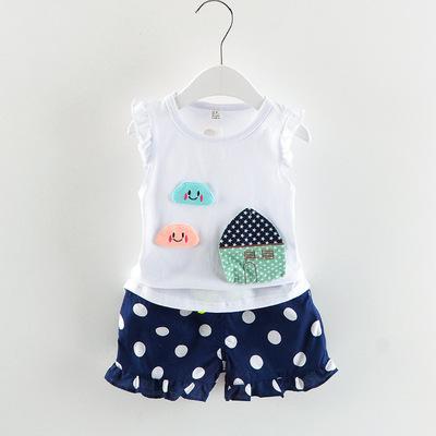 Phù hợp với cô gái mùa hè cô gái Hàn Quốc bé dot nhà bông hai mảnh 1-4 năm bé con quần áo