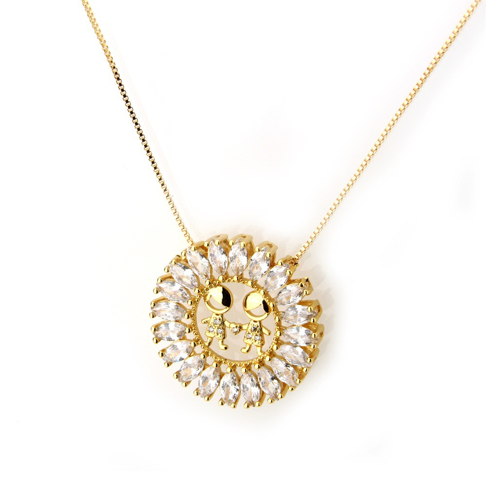 Copper Fashion Geometric necklace  Alloyplated white zirconium NHBP0064Alloyplated white zirconium