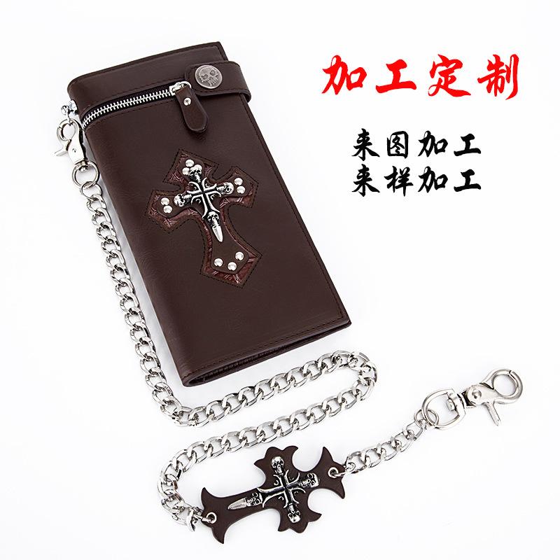 【加工定制】支持来图来样加工 欧美朋克钱包金属骷髅头十字架