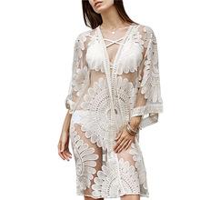 欧美外单沙滩防晒衣镂空透视美背蕾丝钩花长袖连衣裙比基尼罩衫