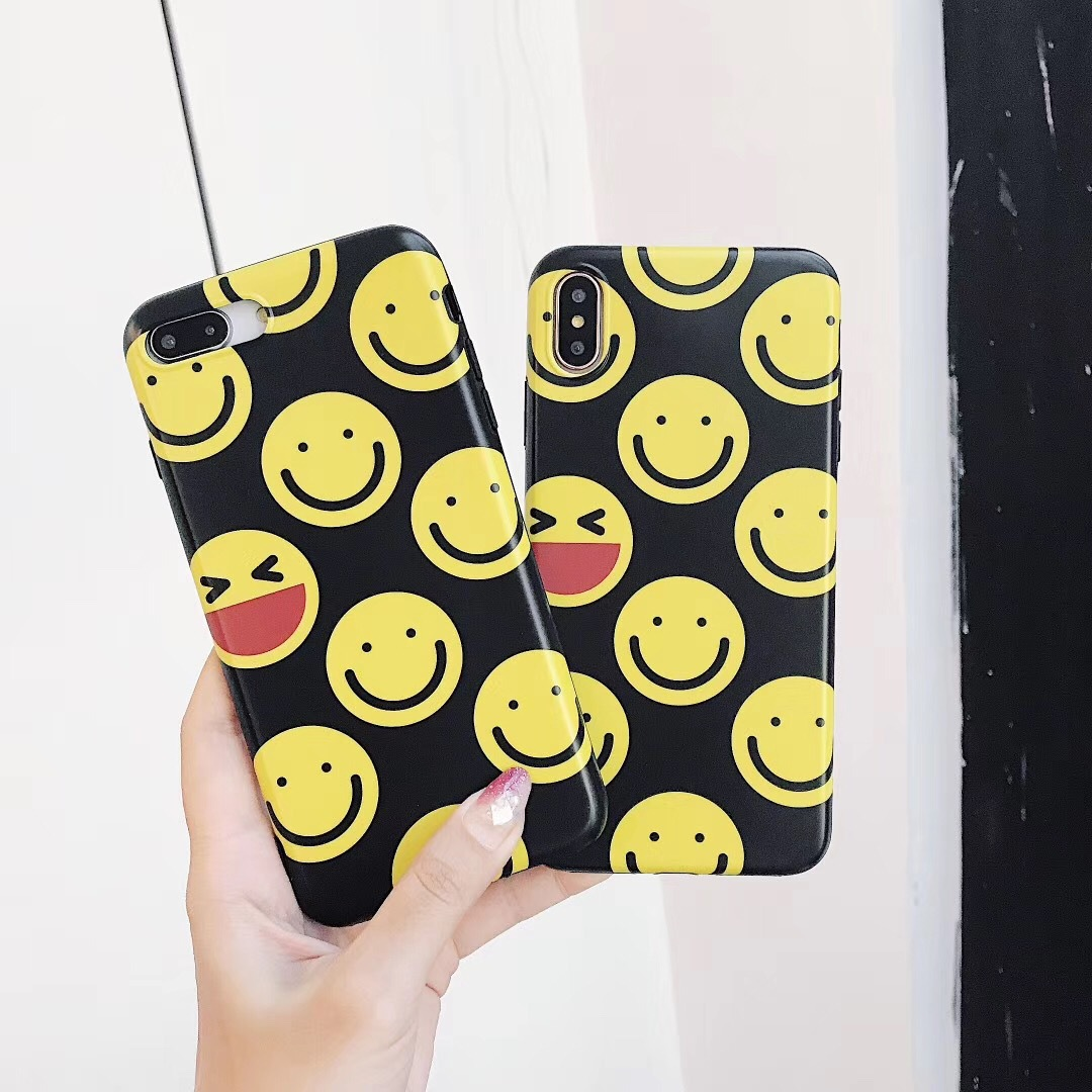 Smiley face applies to Apple 6 mobile phone case iPhone7plus/8/6sX creative personality soft shell tide men and women models