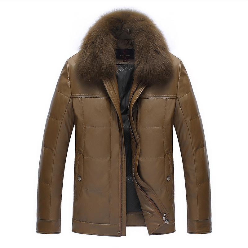 绵羊皮真皮羽绒服男中长款中老年人狐狸毛领冬款海宁皮衣皮草外套
