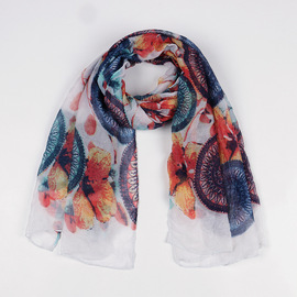 Autumn and winter new print circle Scarf travel decoration cotton and linen scarf female