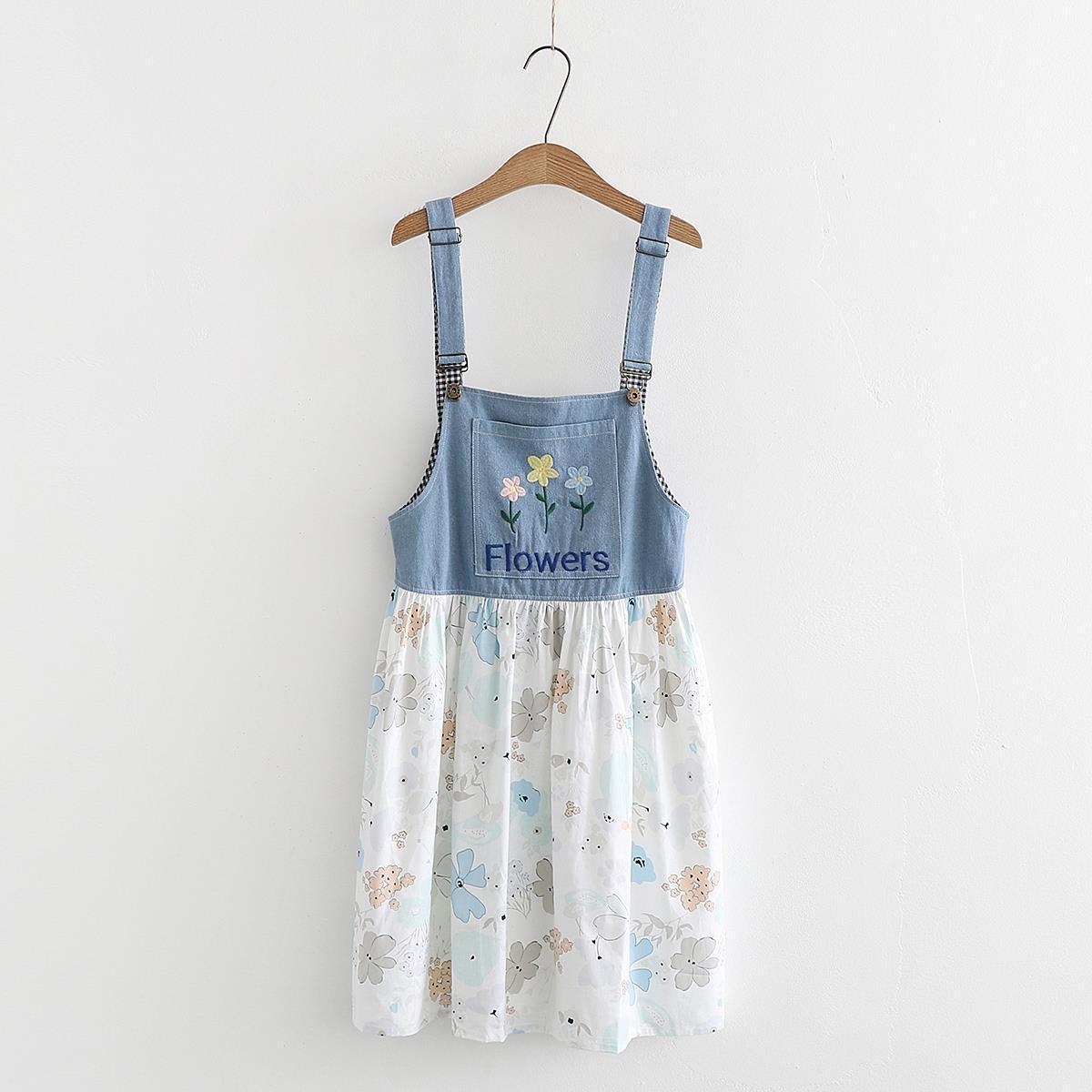 夏装新款日系森学生牛仔花朵拼接A字背带裙百搭宽松连衣裙36329