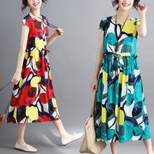 实拍 夏装新款棉麻中长款连衣裙 宽松显瘦大码短袖碎花亚麻裙
