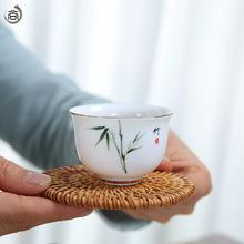 越南秋藤杯垫禅意茶艺隔热垫子手工编织壶垫简约功夫茶具茶道配件
