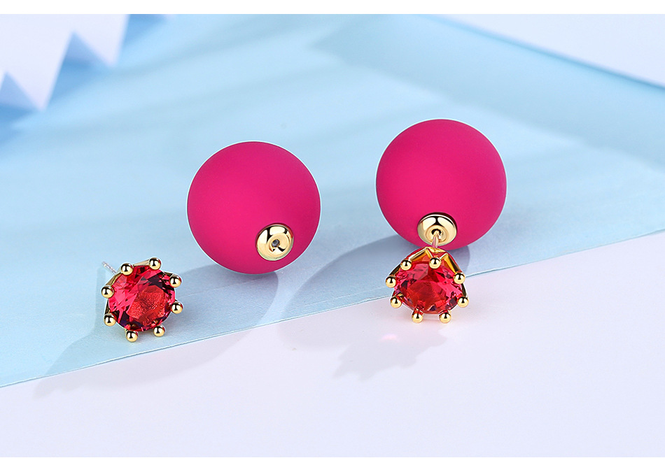 Alloy Fashion Geometric earring  (Rose red) NHTM0316-Rose-red