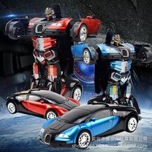 酷炫一键感应变形机器人玩具 儿童手势感应布加迪漂移英雄遥控车