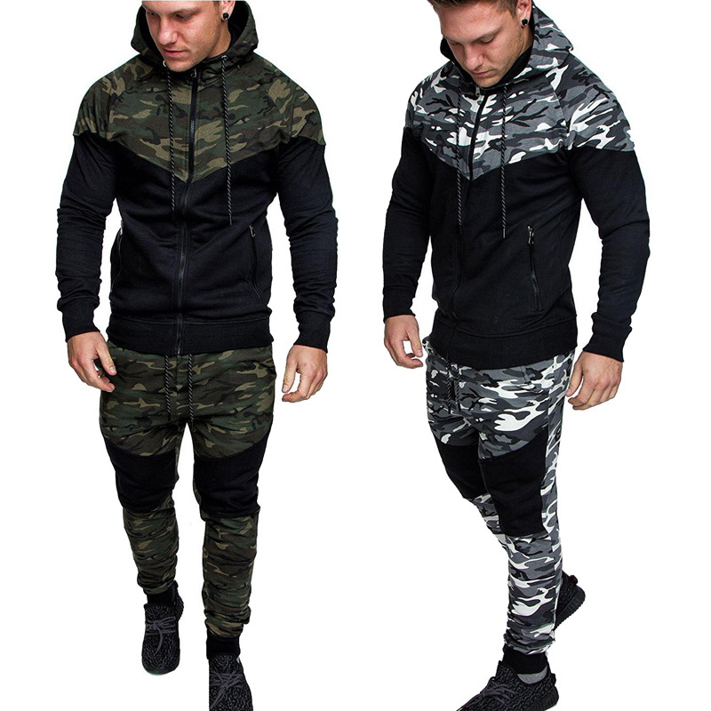 Sumiton Amazon new men's camouflage splicing leisure sports suit field training outdoor sports suit