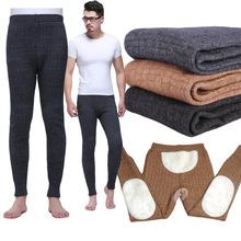 三层加厚加绒羊绒裤保暖裤护腰护膝羊毛裤男士冬季男女打底秋裤子