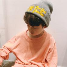 韩版秋冬宝宝保暖帽翻边针织帽儿童毛线帽字母套头帽刺绣护耳帽子