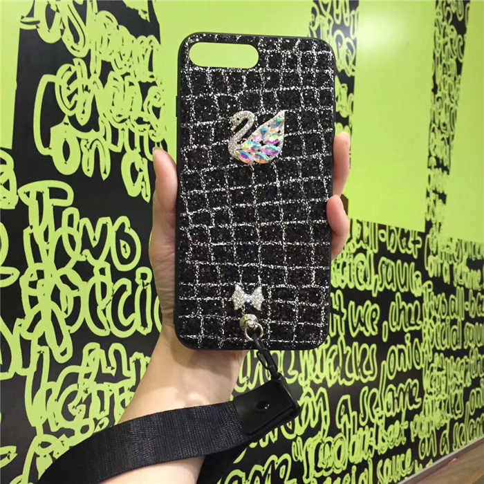 Feel glitter diamond rhinestone iphone8p/7p swan bow with diamond swan iphoneX short rope shatter-resistant shell