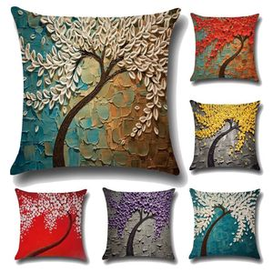 18'' Cushion Cover Pillow Case Personalized three dimensional oil painting tree flower tree pillow pillow cover car sofa bedside waist cushion cover