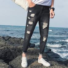 春季新款青少年韩版个性破洞?#27431;?#35044;男式新塘牛仔裤修身潮男小脚裤