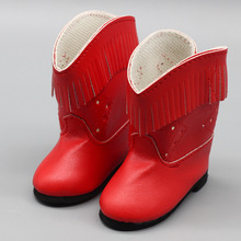新款16寸美国女孩娃娃鞋红色锈花流苏尖头 洋娃娃配件现货批发