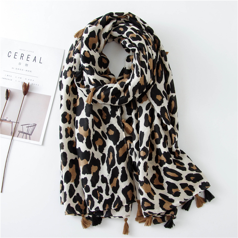 Classic fashion leopard scarf long section cotton and linen shawl NHGD171726