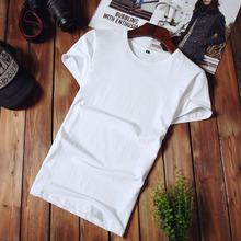 2018男士短袖T恤純棉夏季圓領打底衫純色白韓版修身休閑一件代發